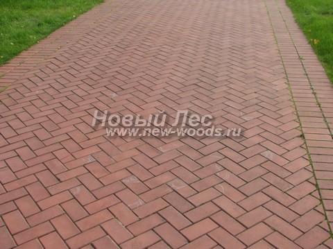 Парковая дорожка из тротуарной плитки с регулярным рисунком «ёлочка»: крайние плитки в дорожке закреплены и играют роль бордюра