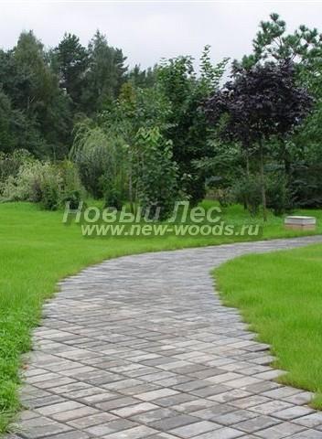 Достижение декоративного эффекта при создании дорожки из бетона: плитка уложена под рядами под определённым углом (роль бордюра выполняют зацементированные крайние плитки)