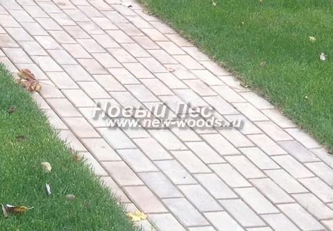 Бетонная садовая дорожка (светлая плитка-брусчатка)