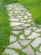 Садовая дорожка из плитняка (камень-пластушка, швы с травой) - 125