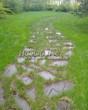 Садовая дорожка из плитняка (камень-пластушка, швы с травой) - 135