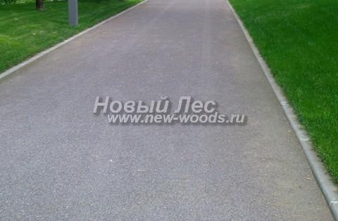 Дорожка-проезд для автомобилей из укатанного гранитного отсева мелких фракций с бетонными бордюрами
