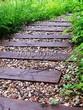 Садовая дорожка из бревен, шпал, бруса - 101
