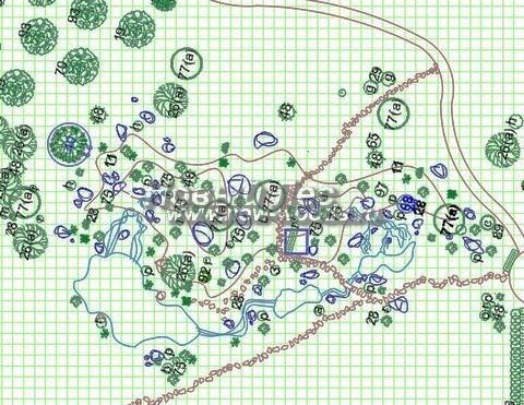 Строительство альпийских горок в Московской области, Москве и Тульской области - На чертеже сложная горка со скалами, ручьями, горными тропами